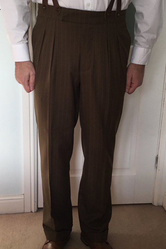 1940s Trousers, Mens Wide Leg Pants CC41 Brown Trousers €95.00 AT vintagedancer.com